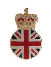 United Kingdom UK Queen's Crown Union Jack Round Pin Badge